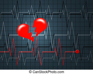 The cardiogramme of heart in the form of the monitor
