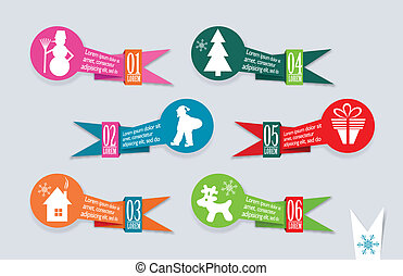 Origami Christmas banners set, vector