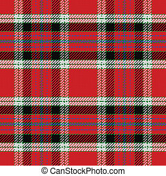 vector seamless pattern Scottish tartan, black, white, blue,...