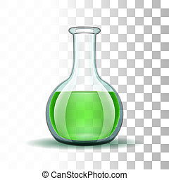 Chemical laboratory transparent flask with green liquid....