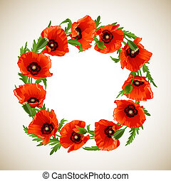 Wreath of Poppies - Wreath of Red Poppies, floral round...