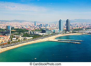 aerial view of Barcelona from Mediterranean. Barceloneta...