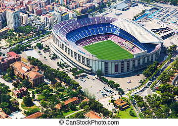 Largest stadium of Barcelona from helicopter. Catalonia -...