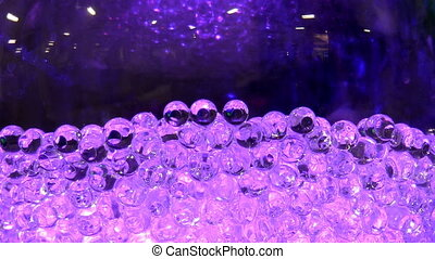 Glass balls and disco lights - Shiny purple glass ball...