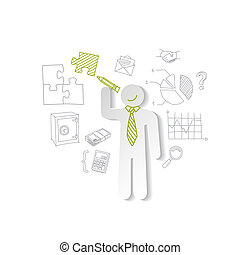 Paper man, puzzles, and business graphics. Marketing concept...