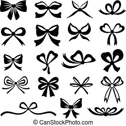 Bows set - Black and white silhouette image of bow set