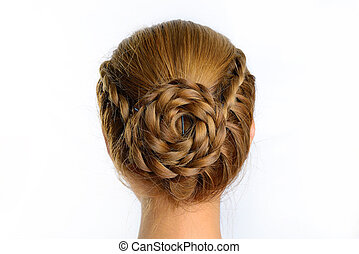 long braid creative brown hair style isolated on white...