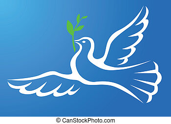 White dove with branch in blue sky
