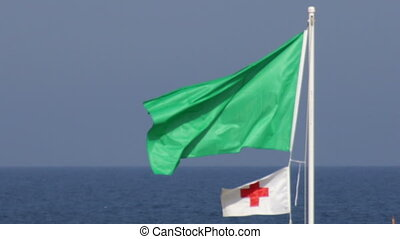 Green Warning Flag 03 - Flagstaff meaning calm water and a...