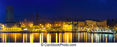 Barcelona from Port Vell in night.  Spain