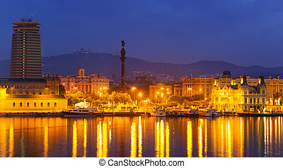 Barcelona and Mediterranean in night. Spain - Barcelona and...