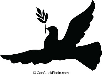 Silhouette dove with branch - Symbol peace of silhouette...