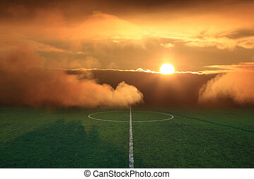 soccer field stadium on the green grass, sunbeam sport game...