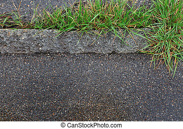 curb - road curb with blades of grass