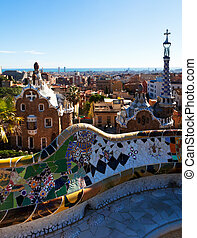 View of Park Guell in winter. Barcelona, Spain. Park was...