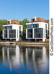 New residential houses at the water in Hamburg