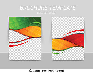 Flyer template back and front design with orange red green...