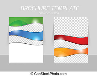 Flyer template back and front design in wavy color style