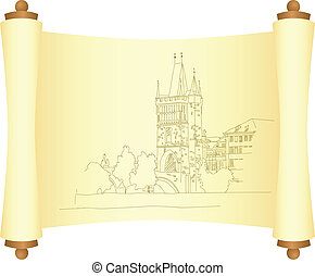 Charles Bridge in Prague Sketch Vector illustration