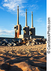 chimneys of neglected power  station