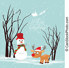 Merry christmas card with snowmans and deer