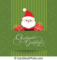 Merry christmas card with santaclaus and gift