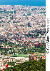 european city Barcelona, Spain - Top view of districts in...