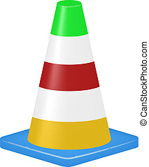 Coloured traffic cone isolated on white background