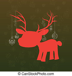 background with deer and christmas