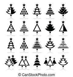 Christmas tree - various types icon - Christmas tree with...