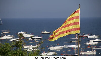Catalonia Flag 03 - Big Catalonia flag next to the...