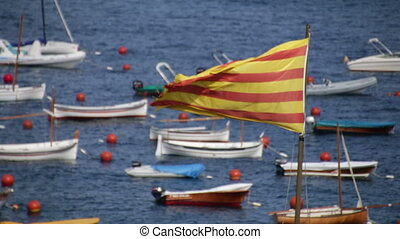 Catalonia Flag - Big Catalonia flag next to the...
