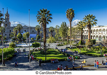 Main plaza in Arequipa, Peru.