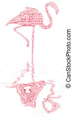 flamingo text clouds with water reflection