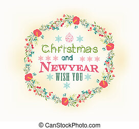 Retro christmas and new year card