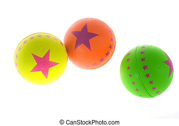 rubber balls - three rubber balls, isolated on a white...