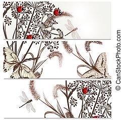 Floral backgrounds set in elegant style - Vector set of...