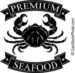 Premium sea food label - Premium seafood menu icon of a crab...