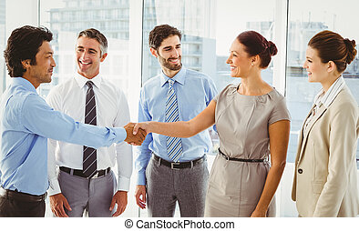 Employee's having a business meeting in a conference room