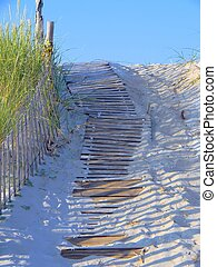 Wood Plank Walkway Through the Sand - Wooden plan walkway...