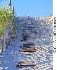Wood Plank Walkway Through the Sand - Wooden plan walkway...