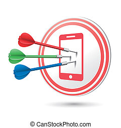 mobile phone icon target with darts hitting on it