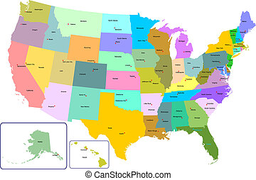 Colorful USA map with states and capital cities. Vector...
