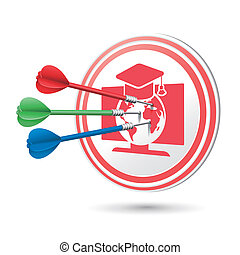online education concept target with darts hitting on it...