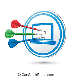 computer icon target with darts hitting on it over white