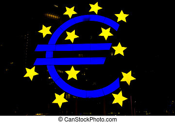 Euro symbol by night