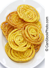 jalebi indian sweet isolated on white background