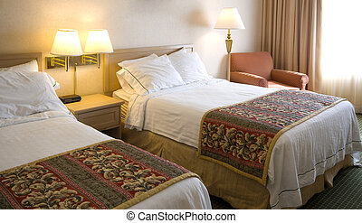 A generic hotel room - a hotel room with two beds, lamps,...