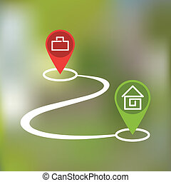 curved path icon - curved path with paragraphs home and work...