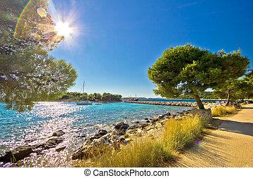 Island of Murter famous beach, Dalmatia region, Croatia